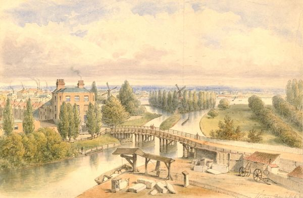 North-west view of 'Jenny Whim's' Bridge over the Canal in Pimlico by an unknown artist, 1815. The Thames can be seen in the distance. Courtesy of the British Museum