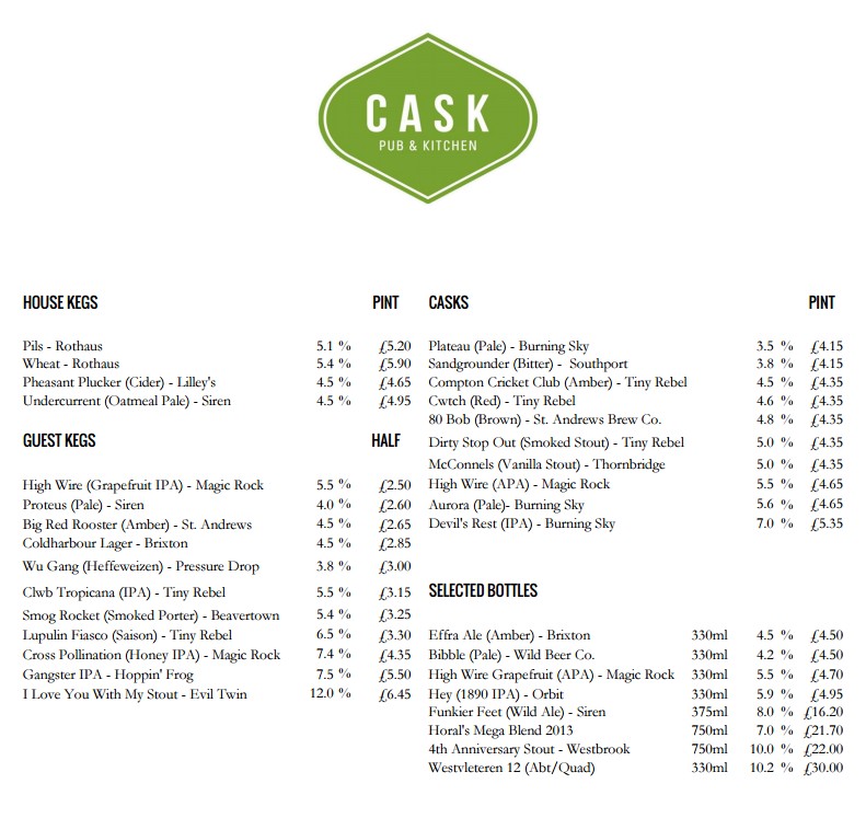 Cask Today's Beer